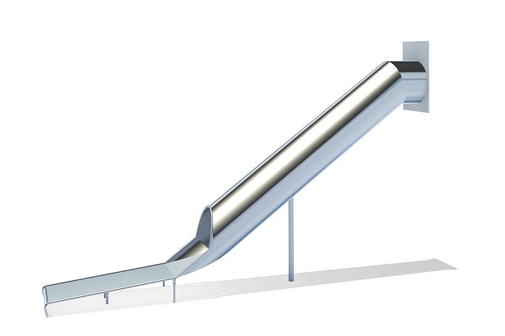 Röhrenanbaurutsche gerade, PH 295 cm, Edelstahl