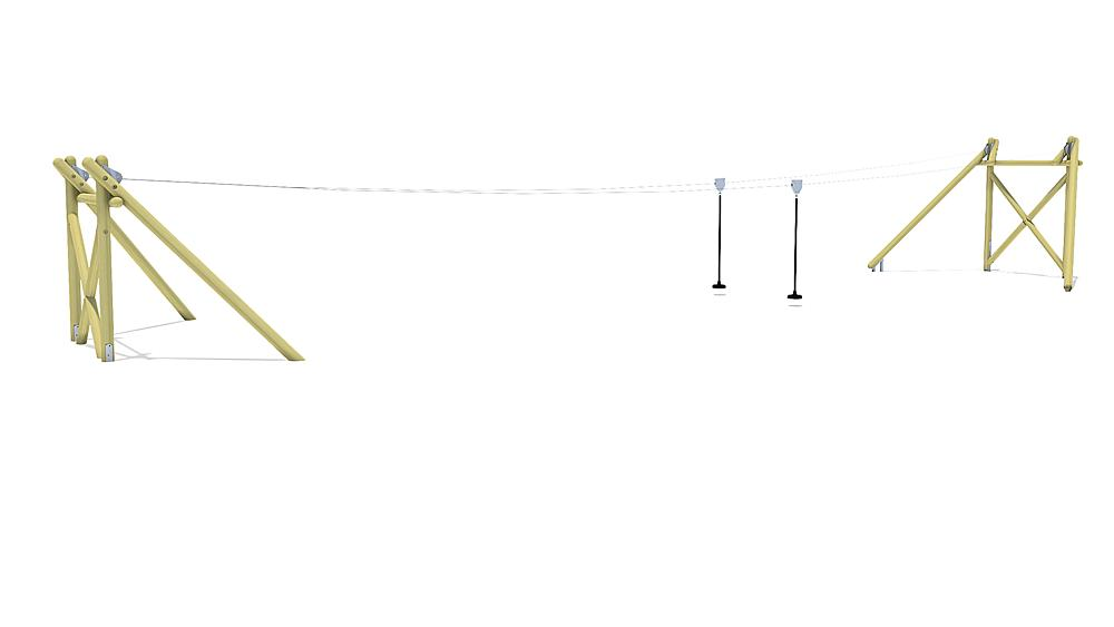 Seilbahn Montana Duo 20 m für Hügelverbau