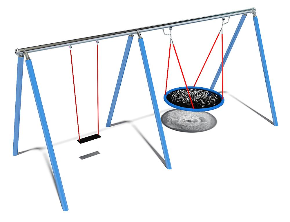 Dreifachschaukel Luna mit Nesthocker & Schaukelsitz mit 360° Schaukelgelenk